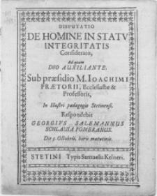 Disputatio De Homine In Statv Integritatis Considerato, Ad quam Deo Auxiliante