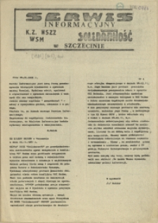 """Serwis Informacyjny KZ NSZZ """"Solidarność"""" WSM w Szczecinie. 1981 nr 1"""
