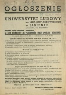 [Afisz] Ogłoszenie : Uniwersytet Ludowy im. Jana Styp-Rekowskiego w Jasieniu [...]