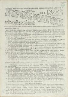 Informator Akademicki : biuletyn informacyjny Międzyuczelnianej Komisji Koordynacyjnej NZS. 1988 nr 3