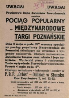 [Afisz] Uwaga! Powiatowa Rada Związków Zawodowych organizuje Pociąg Popularny na Międzynarodowe Targi Poznańskie