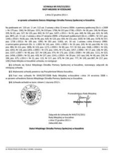 Uchwała Rady Miejskiej w Koszalinie nr XVII/215/2011