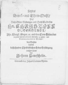 Letztes Denck- und Ehren-Mahl, Dess [...] Hn. Christoff Duderstadt [...] Commendanten in Wollin: bey Dessen daselbst beschehenden [...] Erden-Bestätigung