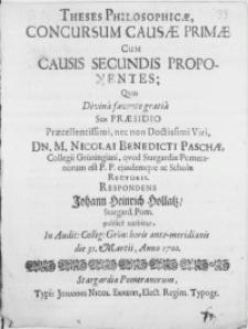 Theses Philosophicae, Concursum Causae Primae Cum Causis Secundis Proponentes: Qvas Divina favente gratia