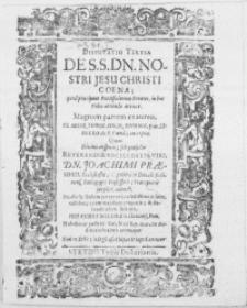 Disputatio Tertia : De S. S. Dn. Nostri Jesu Christi Coena; quod praecipuos Pontificiorum Errores, in hoc Fidei articulo attinet. Magnam partem ex aureo [...] D. Hunnii [...] excerpta [...]