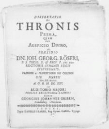 Dissertatio De Thronis Prima