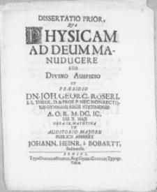 Dissertatio Prior, Qva Physicam Ad Deum Manuducere
