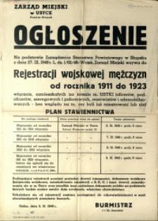 [Afisz] Ogłoszenie : [rejestracja wojskowa mężczyzn od rocznika 1911 do 1923]