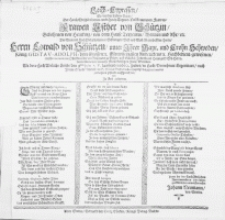 Leich-Cypressen, So bey der Todten-Baar, Der [...] Frawen Esther von Schützin, Gebohrnen von Heucking [...] Des [...] Herrn Eowald von Schützen [...] Fraw Wittiben. Als dero Hoch Adeliche Leiche den 9den Julii S.V. lauffenden 1662. Jahrs, in Hoch-Vornehmer Gegenwart, nach Ihrem Stande [...] in S. Marien Stifftskirchen hieselbst beygesetzet worden von Zu End gesetztem