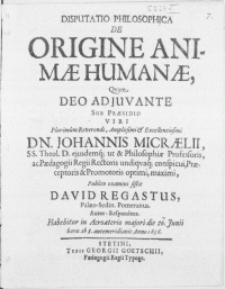 Disputatio Philosophica De Origine Animae Humanae