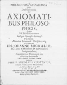 Philosophia Axiomatica sive Dissertatiuncula De Axiomatibus Philosophicis, qvam [...] in Regio Gymnasio Stetinensi