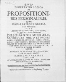 Dissertatio Logica De Propositionibus Personalibus