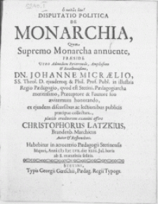 Disputatio Politica De Monarchia