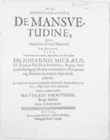 Dissertatio Ethica de Mansvetudine
