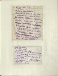 Listy Stanisława Ignacego Witkiewicza do żony Jadwigi z Unrugów Witkiewiczowej. List z 21.09.1931. Kartka pocztowa z 22.09.1931.