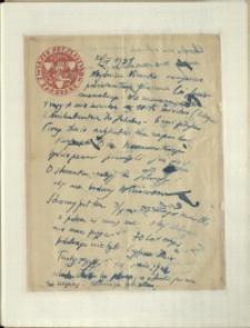 Listy Stanisława Ignacego Witkiewicza do żony Jadwigi z Unrugów Witkiewiczowej. List z 26.09.1931.