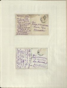 Listy Stanisława Ignacego Witkiewicza do żony Jadwigi z Unrugów Witkiewiczowej. Kartka pocztowa z 02.11.1931. Kartka pocztowa z 03.10.1931.