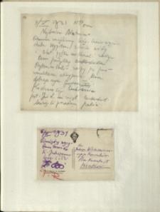 Listy Stanisława Ignacego Witkiewicza do żony Jadwigi z Unrugów Witkiewiczowej. List z 04.10.1931. Kartka pocztowa z 06.10.1931.