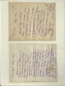 Listy Stanisława Ignacego Witkiewicza do żony Jadwigi z Unrugów Witkiewiczowej. List z 28.10.1931. List z 29.10.1931.