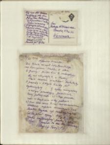 Listy Stanisława Ignacego Witkiewicza do żony Jadwigi z Unrugów Witkiewiczowej. Kartka pocztowa z 08.11.1931. List z 09.11.1931.