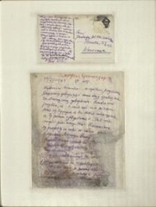 Listy Stanisława Ignacego Witkiewicza do żony Jadwigi z Unrugów Witkiewiczowej. Kartka pocztowa z 10.11.1931. List z 10.11.1931.
