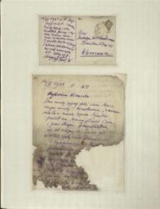 Listy Stanisława Ignacego Witkiewicza do żony Jadwigi z Unrugów Witkiewiczowej. Kartka pocztowa z 11.11.1931. List z 12.11.1931.