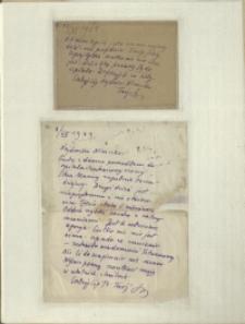 Listy Stanisława Ignacego Witkiewicza do żony Jadwigi z Unrugów Witkiewiczowej. Kartka pocztowa z 16.11.1931. List z 03.12.1931.