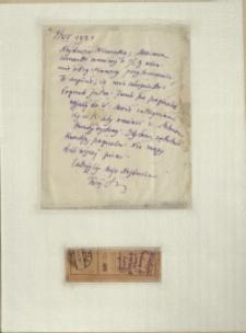 Listy Stanisława Ignacego Witkiewicza do żony Jadwigi z Unrugów Witkiewiczowej. List z 04.12.1931. Przekaz pocztowy z 03.11.1931.