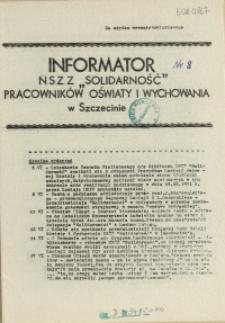"""Informator NSZZ """"Solidarność"""" Pracowników Oświaty i Wychowania w Szczecinie. [1981 nr 8]"""