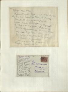 Listy Stanisława Ignacego Witkiewicza do żony Jadwigi z Unrugów Witkiewiczowej. List z 17.03.1932. Kartka pocztowa z 18.03.1932.