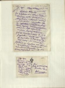 Listy Stanisława Ignacego Witkiewicza do żony Jadwigi z Unrugów Witkiewiczowej. List z 08.04.1932. Kartka pocztowa z 09.04.1932.