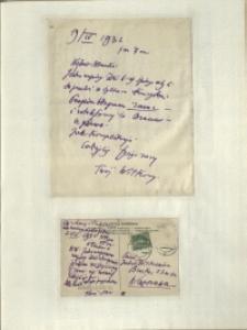 Listy Stanisława Ignacego Witkiewicza do żony Jadwigi z Unrugów Witkiewiczowej. List z 19.04.1932. Kartka pocztowa z 22.04.1932.