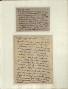 Listy Stanisława Ignacego Witkiewicza do żony Jadwigi z Unrugów Witkiewiczowej. Kartka pocztowa z 26.07.1933. List z 14.06.1933.