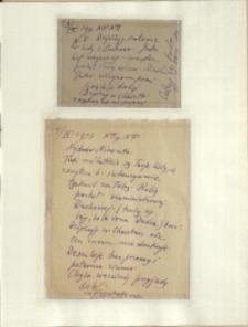 Listy Stanisława Ignacego Witkiewicza do żony Jadwigi z Unrugów Witkiewiczowej. Kartka pocztowa z 03.09.1933. List z 04.09.1933.