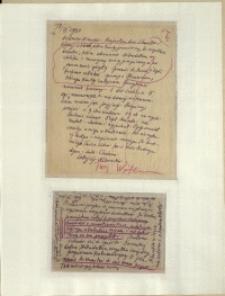 Listy Stanisława Ignacego Witkiewicza do żony Jadwigi z Unrugów Witkiewiczowej. List z 18.09.1933. Kartka pocztowa z 20.09.1933.