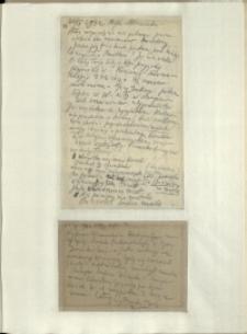 Listy Stanisława Ignacego Witkiewicza do żony Jadwigi z Unrugów Witkiewiczowej. List z 24.04.1934. Kartka pocztowa z 25.04.1934.