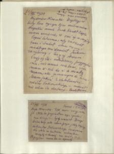 Listy Stanisława Ignacego Witkiewicza do żony Jadwigi z Unrugów Witkiewiczowej. List z 22.08.1934. Kartka pocztowa z 24.08.1934.