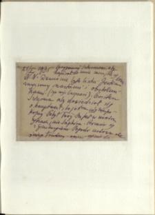 Listy Stanisława Ignacego Witkiewicza do żony Jadwigi z Unrugów Witkiewiczowej. Kartka pocztowa z 21.02.1935.