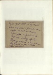 Listy Stanisława Ignacego Witkiewicza do żony Jadwigi z Unrugów Witkiewiczowej. Kartka pocztowa z 24.02.1935.