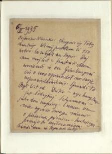 Listy Stanisława Ignacego Witkiewicza do żony Jadwigi z Unrugów Witkiewiczowej. List z 06.03.1935.