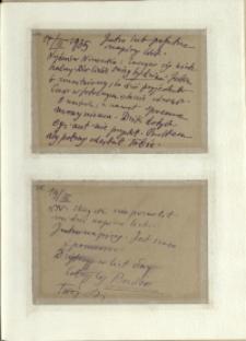 Listy Stanisława Ignacego Witkiewicza do żony Jadwigi z Unrugów Witkiewiczowej. Kartka pocztowa z 17.03.1935. Kartka pocztowa z 19.03.1935.