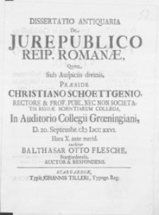 Dissertatio Antiquaria De Jure Publico Reip. Romanae