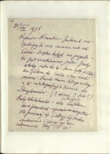 Listy Stanisława Ignacego Witkiewicza do żony Jadwigi z Unrugów Witkiewiczowej. List z 21.08.1935.