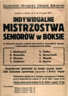 [Afisz] Indywidualne Mistrzostwa Seniorów w Boksie [...]