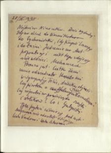 Listy Stanisława Ignacego Witkiewicza do żony Jadwigi z Unrugów Witkiewiczowej. List z 28.09.1935.