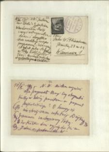 Listy Stanisława Ignacego Witkiewicza do żony Jadwigi z Unrugów Witkiewiczowej. Kartka pocztowa z 08.10.1935. Kartka pocztowa z 10.10.1935.