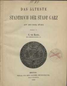 Das älteste Stadtbuch der Stadt Garz auf der Insel Rügen