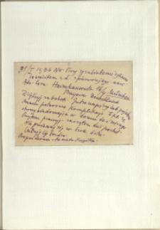 Listy Stanisława Ignacego Witkiewicza do żony Jadwigi z Unrugów Witkiewiczowej. Kartka pocztowa z 31.01.1936.