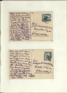 Listy Stanisława Ignacego Witkiewicza do żony Jadwigi z Unrugów Witkiewiczowej. Kartka pocztowa z 14.02.1936. Kartka pocztowa z 17.02.1936.