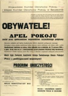 [Afisz] Obywatele! : Apel Pokoju został przez społeczeństwo województwa szczecińskiego podpisany [...]